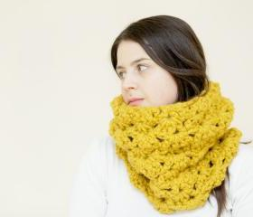Crochet Cowl - Lacey Crochet Circle Scarf - Snood in Mustard Yellow - The Pendower